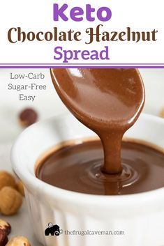 This Keto Chocolate Hazelnut Spread is a healthy alternative to Nutella. It is very low in carbs and high in good fats to keep your body in ketosis. Give this Ketogenic Nutella a try. Use it in all the same ways you would use Nutella. Low Carb Sweets, Low Carb Desserts, Low Carb Recipes, Dessert Recipes, Dessert Ideas, Healthier Desserts, Sugar Free Nutella, Keto Sauces, Nutella Recipes