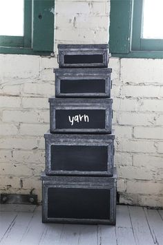 Metal Boxes with Chalkboard Labels, Set of Five