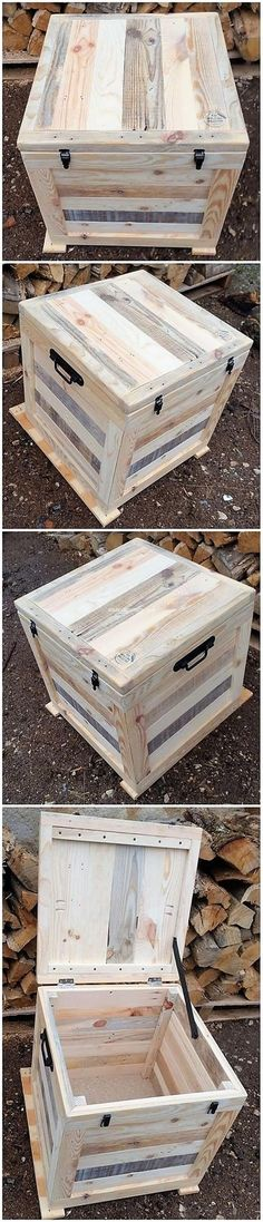 25 Cool Projects to Try with Recycled Pallets: Using the wood pallet custom material for your house furniture designing and thinking about up-cycling the old wooden pallets into. Wood Pallet Recycling, Recycled Pallets, Wood Pallets, Pallet Benches, Pallet Tables, 1001 Pallets, Diy Pallet Projects, Woodworking Projects, Pallet Trunk