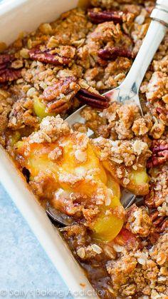 Sweet Peach Pecan Crisp on sallysbakingaddiction.com -- click through for the simple recipe!