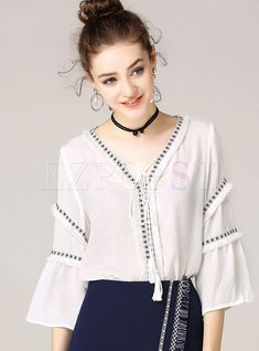 6ccb47906 Sexy Pure Color V-neck Flare Sleeve Hollow-out Blouse