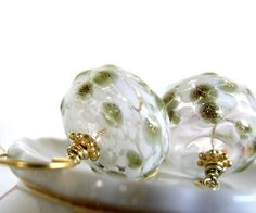 Olive green golden and white glass beads dangle by antigonidesigns