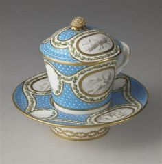 Sevres Chocolate cup set with cherubs