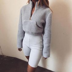 81d34e001b0bac Casual Neutral Tone Fur Long Sleeve Crop Sweater - STYLEBUY 👙WHOLESALE  CLOTHING SUPPLIER 💰 Buy