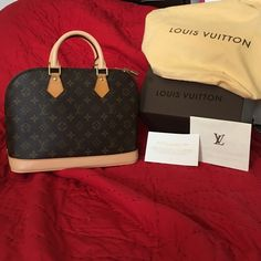 Authentic Louis Vuitton Monogram Alma PM Like New Authentic Louis Vuitton Alma PM Purse. I just had both handles & complete base replaced via LV - Cost to repair ~ $675. Int clean & obviously Ext Canvas has no rips/cracks. Will ship in the LV Box, LV Dust bag, Lock #346 (key lost), Care Card, & copy of rec of repair.  Authentic Louis Vuitton Mini Luggage Tag Avail for Sale in Separate Listing. Comes from a nonsmoking with fluffy furkids home. Louis Vuitton Bags Shoulder Bags