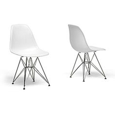 @Overstock - Update your home or office decor with the simple yet elegant design of the Ronnie white chairs  Chair features clean, simple form sculpted to fit the body  Furniture boasts recyclable polypropylene shellshttp://www.overstock.com/Home-Garden/Ronnie-Wire-Base-White-Chairs-Set-of-2/3351572/product.html?CID=214117 $104.01