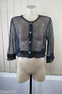 Size M 12 Ladies Grey Mesh Stretch Shrug Jacket Cardigan Layer Boho Chic Design | eBay