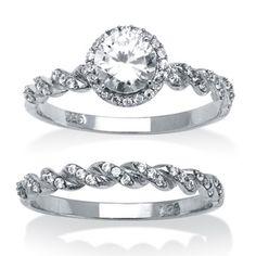 Ultimate CZ 1 1/5ct TGW Cubic Zirconia Bridal Style Ring Set