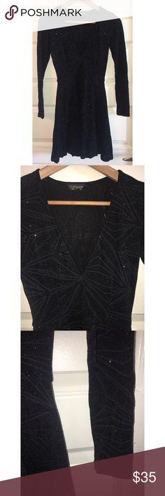TOPSHOP Black Glitter Long Sleeve Skater Dress New Without Tags! TOPSHOP Black Glitter Knit Long Sleeve Plunge Neck Skater Dress  US Size 2 Colour: BLACK Sold Out In All Stores And Online! Topshop Dresses Mini
