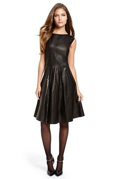 Pleated Leather 'Le 831' Dress by BOSS Black