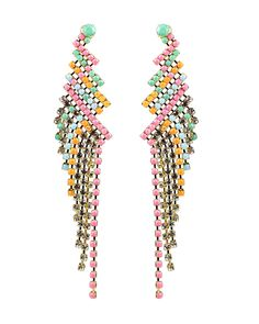 Zig Zag Drape Earrings // these remind me of a rainbow parrot with flowing tail feathers #designinspiration #wearabledesign