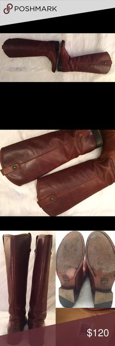 """Frye Melissa Button Boots Size 6 Pre-loved, No box, Women's, Vintage Leather Pull on boots with side pull tabs, Cognac Color, with scuff marks all over the boots, 1"""" heels. Please ask questions before purchasing. No trades. Frye Shoes"""