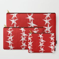 Strings of Stars - Red and White Carry-All Pouch by laec | Society6