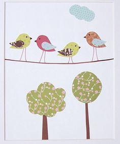 Children's Art Decor, Baby Nursery Decor, Kids Wall Art, Birds, Trees, Boys, Girls, Birds on a Wire, 8x10 Print. $14.00, via Etsy.