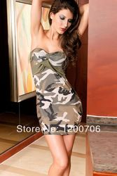 Online Shop Free Shipping 2014 Army Green Mini Dress Sexy Ladies Fashion Wrapped Chest Strapless Camo Prom Dresses Aliexpress Mobile