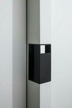 Detail, BG Apartment by Francesc Rife _ Pocket Door Handles, Pocket Door Hardware, Black Door Handles, Pocket Doors, Barn Door Hardware, Window Design, Door Design, Furniture Handles, Joinery Details