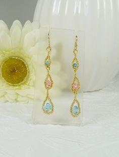 Dangle Earrings Woven Swarovski Crystals by IndulgedGirl on Etsy