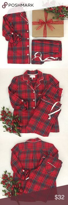 Victoria's Secret || Flannel Pajama Set Red plaid, flannel Victoria's secret pajamas. Imagine snuggling up by a warm fire opening Christmas presents in these pajamas this year! Cozy and in excellent condition! Very gently worn. Top: Bust 40in, Length 26in (sleeves roll back and button). Bottoms: waist 28in (elastic waistband), Inseam 30in. 98% Cotton, 2% other fibers. Victoria's Secret Intimates & Sleepwear Pajamas