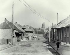 Gloucester St,the Rocks of Sydney in 1901,looking south from Little Essex St. •State Records of NSW•