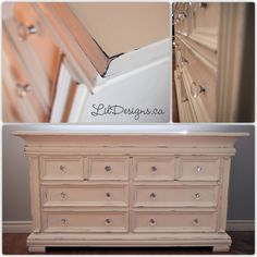 Nursery Dresser refinished in CeCe Caldwell's Paints - Vintage White. Nursery Dresser, Nursery Crib, Baby Safe Paint, Dresser Refinish, Clay Paint, Paint Brands, Types Of Painting, Antique Market, Glass Knobs