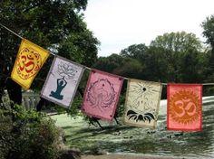 Yoga theme prayer flags by Cazmira. From www.fair52.com