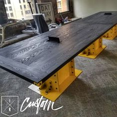 This one blends in perfectly with i. This one blends in perfectly with its Pittsburgh surroundings. Vintage Industrial Furniture, Metal Furniture, Unique Furniture, Modern Industrial, Industrial Desk, Furniture Movers, Conference Table Design, Deco Cool, Restroom Design