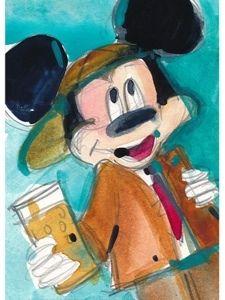 "RIFKIN ""BUSINESSMAN MICKEY MOUSE"" Original ACEO Watercolor 2.5 x 3.5"
