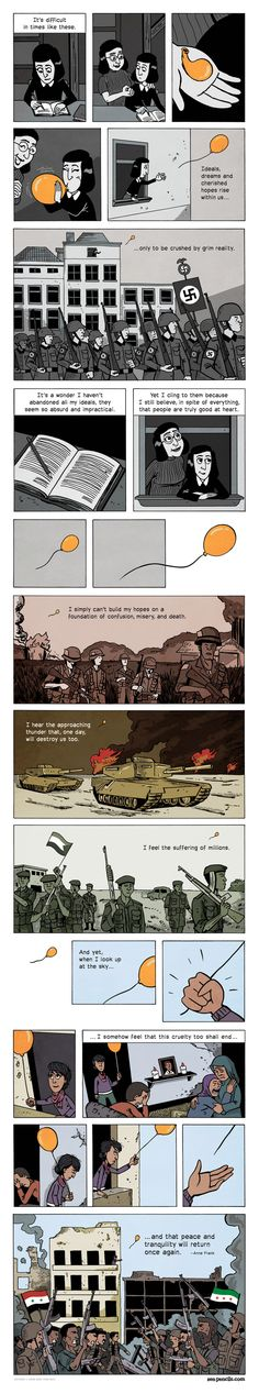 """Today on Zen Pencils - Comics by Gavin Aung Than - Zen Pencils from """"The Diary of Anne Frank"""" - Comics Story, Bd Comics, Sad Stories, Short Stories, 4 Panel Life, Faith In Humanity Restored, Short Comics, Thought Provoking, Comic Strips"""