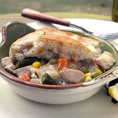 Biscuit Topped Chicken Potpie. Substitute prepared pie crust instead of Bisquick if you prefer. This is the absolute, very best chicken potpie you'll ever eat. Shared by JLK.