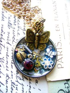 Steampunk ButterflyLadybug Watch Parts Art by lynnetteapriljewels, $20.00