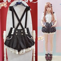 Kawaii-Girls-Lolita-Suspender-Lace-Pumpkin-Shorts-Cute-Lantern-Pants-Pink-Black