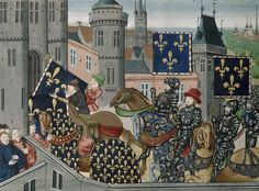 Entry of the French army into Bordeaux from BL Royal 20 C IX, f. 248v by Jean Chartier, 1475 - 1499. The British Library, Public Domain