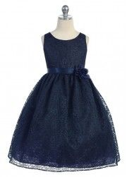 Navy Elegant Lace Girl Dress