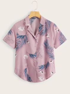 To find out about the Feather Print Button Front Blouse at SHEIN, part of our latest Blouses ready to shop online today! Tribal Shirt, Feather Print, Summer Shirts, Types Of Shirts, Fashion News, Women's Fashion, Blouses For Women, Print Button, Sleeves