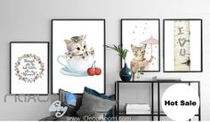 Kitty Cup Cherry Cat Lady Heart Canvas Print Wall Decal Kids Decor Art Unframed IDCCV-BO-000106