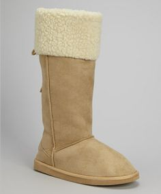 Take a look at this Tan Faux Shearling Collar Boot by Frisky Shoes on #zulily today!