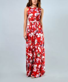Loving this Red Floral V-Detail Belted Maxi Dress - Plus Too on #zulily! #zulilyfinds