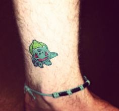 Small Bulbasaur ankle tattoo | If I was obsessed with Pokemon as I used to be…