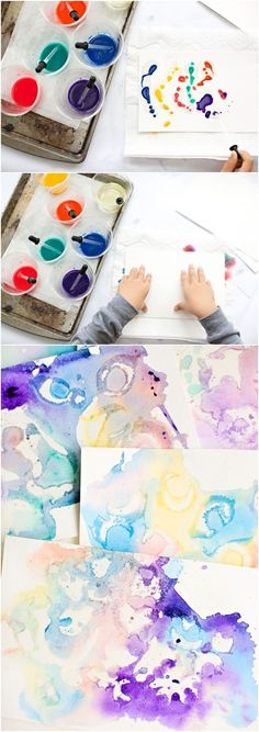 Marbled watercolor and oil painting with kids process art fo Watercolor Art Face, Watercolor Art Landscape, Watercolor Art Paintings, Painting Art, Painting Portraits, Watercolours, Art Videos For Kids, Art For Kids, Drawing For Kids