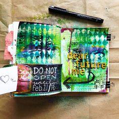Mixed Media Art Journal Time Capsule: Dear Future Me Artist Journal, Art Journal Pages, Art Journaling, Journal 3, Journal Ideas, Mixed Media Journal, Mixed Media Canvas, Mixed Media Art, Mix Media