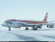 Empress flight departing for Vancouver. This one is carrying an extra RR Conway engine in the pod (inboard of Number 2 engine). - Photo taken at Toronto - Lester B. Pearson International (Malton) (YYZ / CYYZ) in Ontario, Canada on November Canadian Airlines, Pacific Airlines, Jet Airlines, Douglas Dc 8, Ontario, Mcdonald Douglas, Air Transat, Bomber Plane, Douglas Aircraft