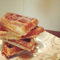 Dukantopia Dukan Waffles - cottage cheese, oat bran and egg with Walden Farms zero carb syrup