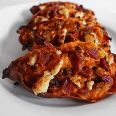 Twice baked sweet potatoes with bacon are the perfect sweet and savory combination! #JustBaconIt