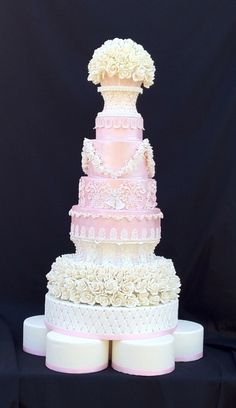 Pink Elegance - 10 Tiers w/ 260 Gumpaste Roses, Gumpaste Lace and Leaves. By Faux-Ever Cakes, Las Vegas, NV