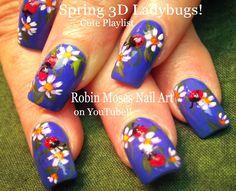 """Robin Moses Nail Art: """"ladybug nails"""" """"cute summer nails"""" """"daisy nails"""" """"white daisies"""" """"nail tutorials"""" """"nail art"""" """"nails"""" """"how to nails"""" """"summer nails"""" nail art"""" summer nails nail art """"ladybug design"""" """"ladybug ideas"""" 3d Nail Designs, Nail Design Video, Pretty Nail Designs, Simple Nail Art Designs, Nail Designs Spring, Trendy Nail Art, Cute Nail Art, Beautiful Nail Art, Cute Nails"""