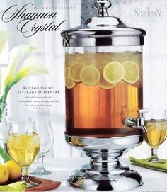 Shannon Crystal Beverage Dispenser 2 1/2Gallon Shannon Crystal 2.5 Gallon Roxborough Beverage Jar Dispenser with Spigot. Mouth blown hand made glass Two and half gallon capacity. Chrome plated - tarnish resistant metal base. Fill your beverage dispenser with ice tea, or any one of your favorite cold beverages.. For cold beverages only. Hand wash only.For those who love to entertain.  #Godinger #Kitchen