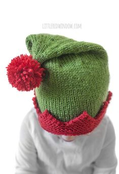 Adorable Christmas Elf Hat knitting pattern, your baby or toddler will be ready to help Santa this year with this cute Christmas Elf Hat! hat kids pattern Christmas Elf Hat Knitting Pattern - Little Red Window Baby Knitting Patterns, Baby Hat Patterns, Christmas Knitting Patterns, Baby Hats Knitting, Loom Knitting, Hand Knitting, Children's Knitted Hats, Finger Knitting, Scarf Patterns