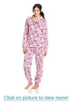 Hello Kitty Junior's Bows and Stars Notch Fleece Pajama Set Pajama Set, Pajama Pants, Fleece Pajamas, Pink Bling, Polar Fleece, Pajamas Women, Star Print, Sanrio, Pjs