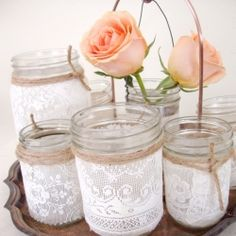 Lace and twine mason jars <3