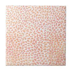 Lachsrosa Watercolor lässt Muster-Keramikfliese Kleine Quadratische Fliese